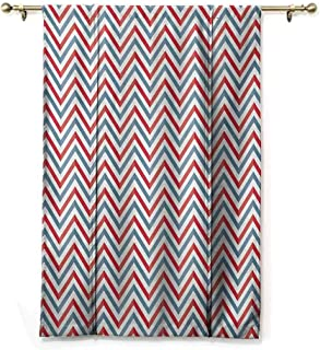 HCCJLCKS Room Dark Black Insulated Roman Blind Retro Zig Zag Chevron Style Geometric Pattern Design in Pastel Colors Print Privacy Protection Pale Blue Red and White W36 xL64
