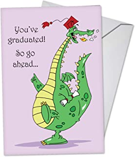 Dragon Graduate - Cute Happy Graduation Day Card for Kids (4.63 x 6.75 Inch) - Adorable Dragon Graduate Cartoon Note Card with Envelope - Congrats Notecard for Preschool, Middle, High School C3557GDG