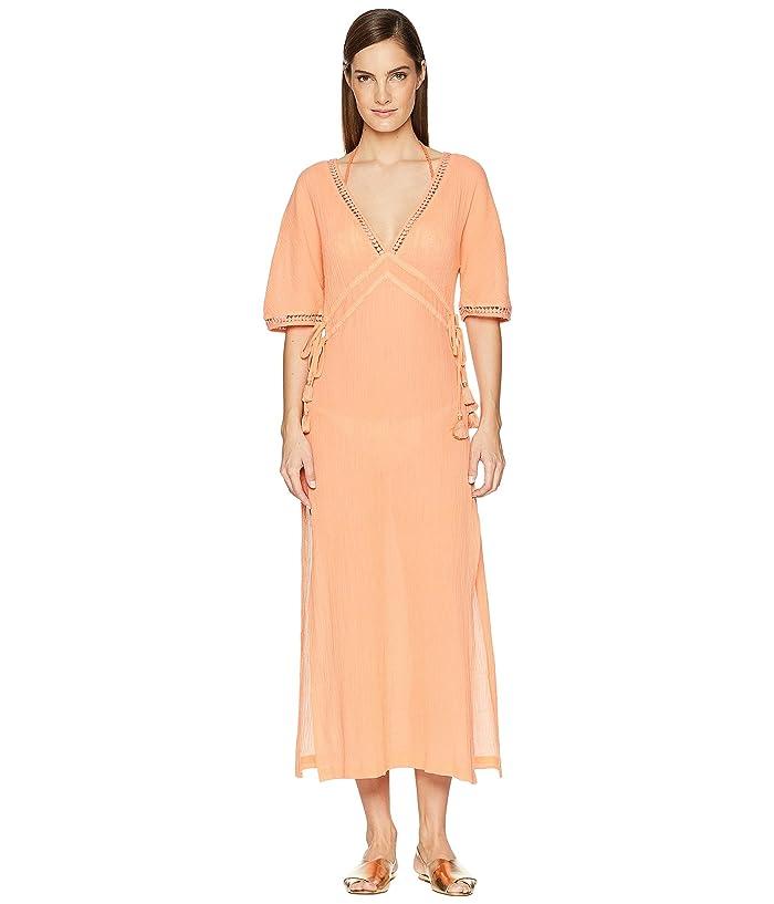 Heidi Klein Costa Rica Lace Trim Maxi Dress Cover-Up (Coral) Women