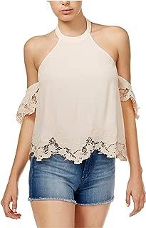 ASTR Womens Alesandra Cold Shoulder Embroidered Blouse Pink L