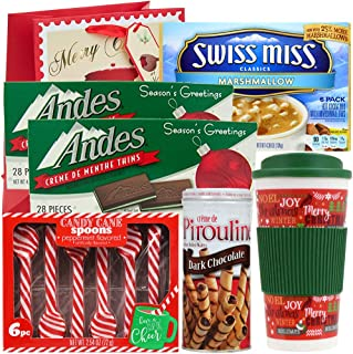 Holiday Gift Set   Travel Mug, Swiss Miss Marshmallow Hot Cocoa, Peppermint Candy Cane Spoons, Andes Crème de Menthe Thin Mints & Pirouline Dark Chocolate Cream Wafers