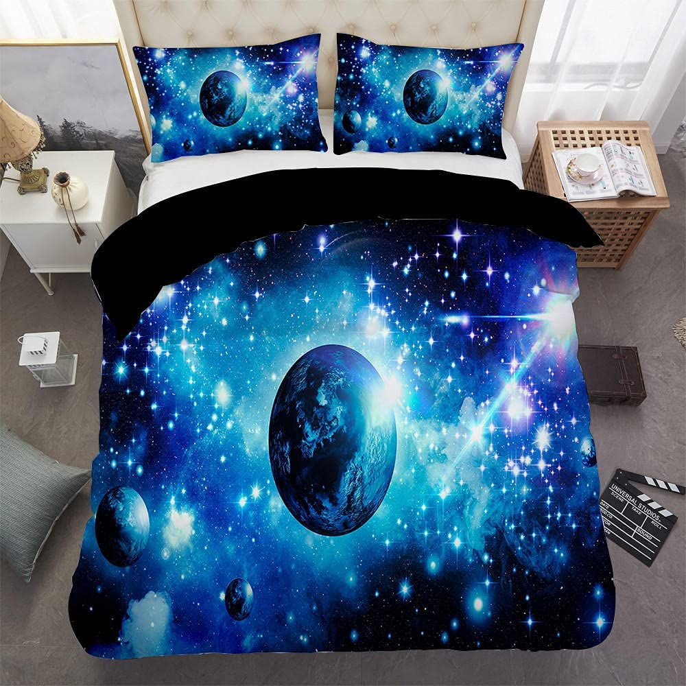 Duvet Cover Full Size 3 Pieces Limited time trial price Starry Bedding F Sets Sale item Planet Blue