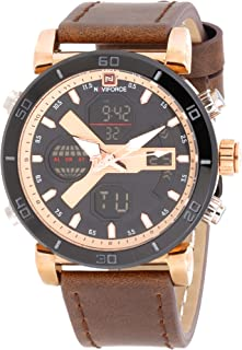 Naviforce Men's Black Dial Genuine Leather Analogue Classic Watch - NF9132-RGRGBN