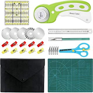 Rotary Cutter Kit, Rotary Cutter Tool Kit with with 5 Extra Blades, Cutting Mat, Patchwork Ruler, Carving Knife, Storage B...