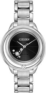 Citizen Sunrise Solitare Black Dial Stainless Steel Ladies Watch EW5520-50E
