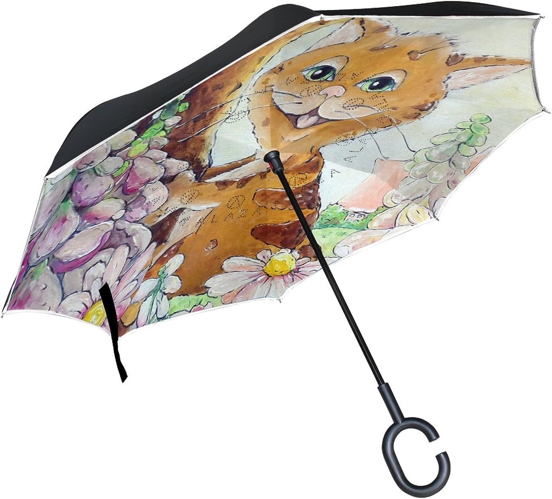 Mydaily Double Layer Ingreened Umbrella Cars Reverse Umbrella Cat Flower Windproof UV Proof Travel Outdoor Umbrella