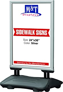 High Wind Weatherproof Sidewalk Advertising Sign Spring Base for Posters, Snap Open Frame, Double Sided, Water Base, 24x36 Silver