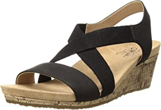 LifeStride Women's Mexico Wedge Sandal, black, 7 M US