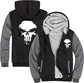 1Bar The Punisher Mens Thicken Hoodie Jacket Fleece Interior Cosplay Costume Top Plus Free Skull Beanie