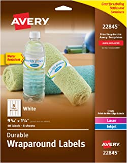 "Avery Wraparound Labels with Sure Feed for Laser & Inkjet Printers, 1.25"" x 9.75"", 40 Labels (22845), White"