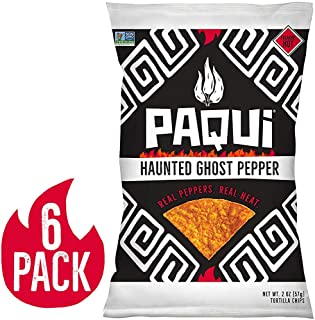 Paqui Spicy Hot Tortilla Chips, Gluten Free Snacks, Haunted Ghost Pepper, (6) 2oz Bags