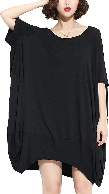 ellazhu Womens Oversized T Shirt Short Sleeve Beach Summer T-Shirt Sundress for Women GA200