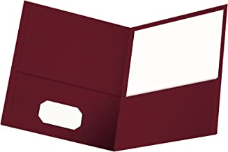 Oxford Twin-Pocket Folders, Textured Paper, Letter Size, Burgundy, Holds 100 Sheets, Box of 25 (57557)