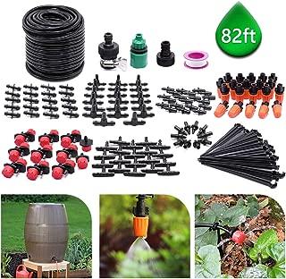 CYEVA 82ft/25M Drip Irrigation Kit with 40Pcs Adjustable Emitters, 2 Different Sprinkler Types, Water-Saving DIY Sprinkler System for Vegetable Garden, Lawn, Pot Plants, Rain Barrel Kit