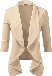 4e194ba3f Doublju Womens Lightweight Thin 3/4 Sleeve Open Front Blazer with Plus Size