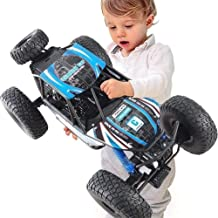KRCT 1/10 Oversized Blue Remote Control Car with LED Headlight 4x4 Big Foot Off Road Truck High Speed Drift All Terrain RC Racing Vehicle Toy Rechargeable Electric 2.4G Rally Auto (Size : 1 Battery)