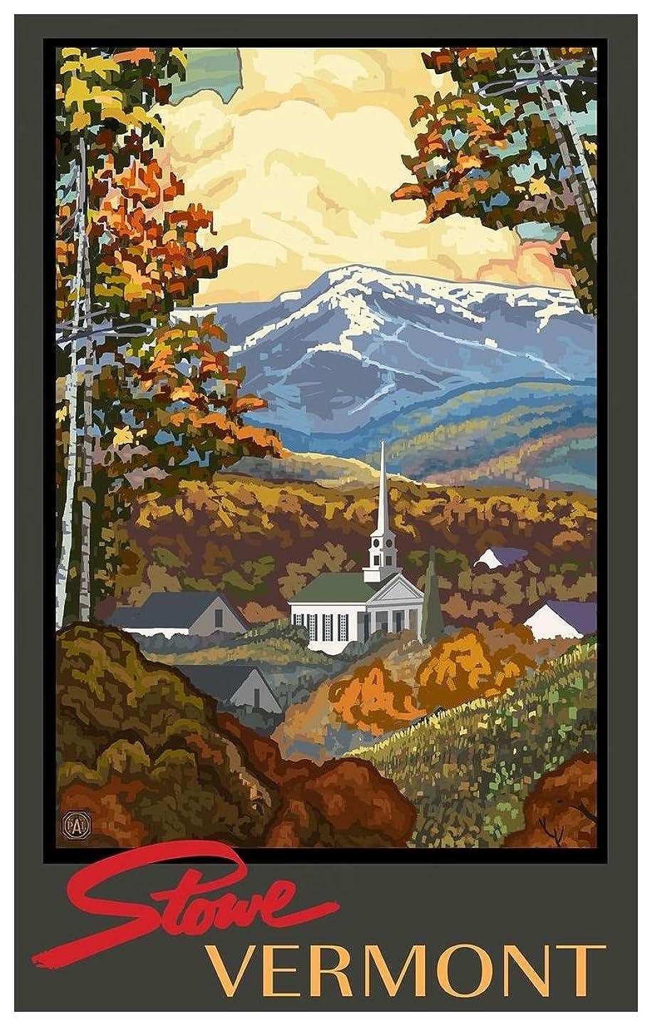 Stowe Vermont Church Travel Art Print Poster by Paul A. Lanquist (12