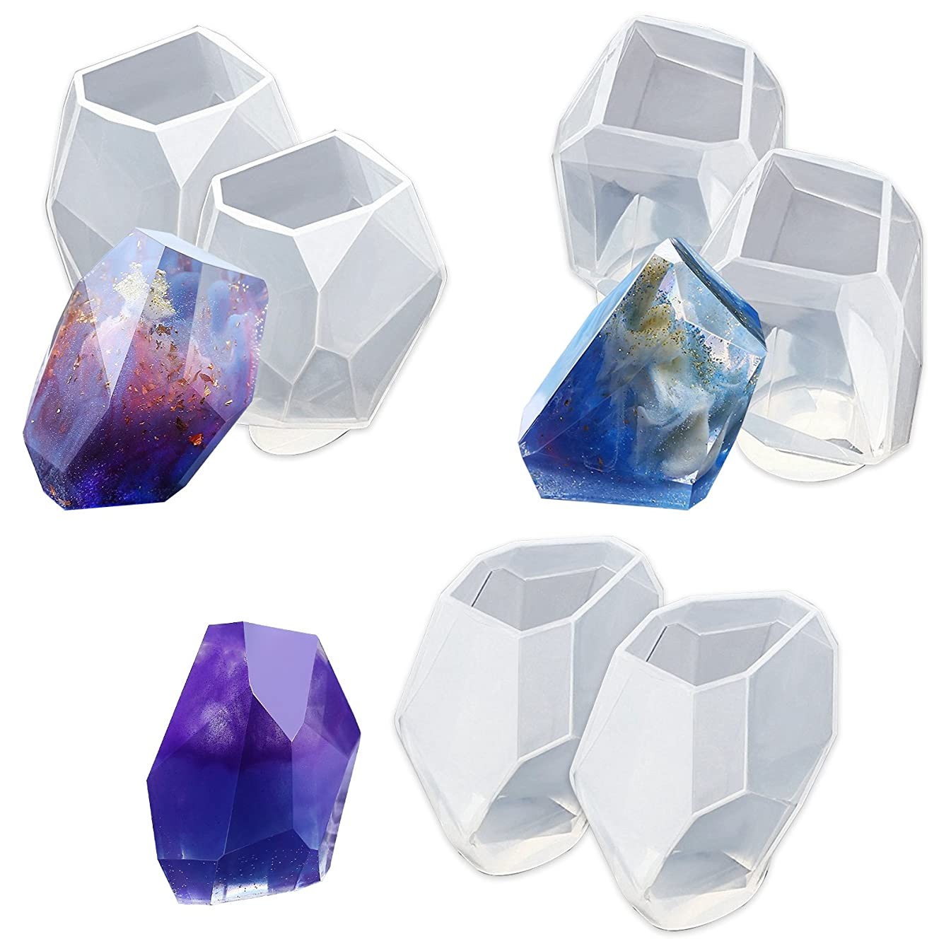 Funshowcase Large Multi-faceted Gem Stone Resin Epoxy Mold for Jewelry, Soap Making, Cabochon Gemstone Crafting Projects 6-pack