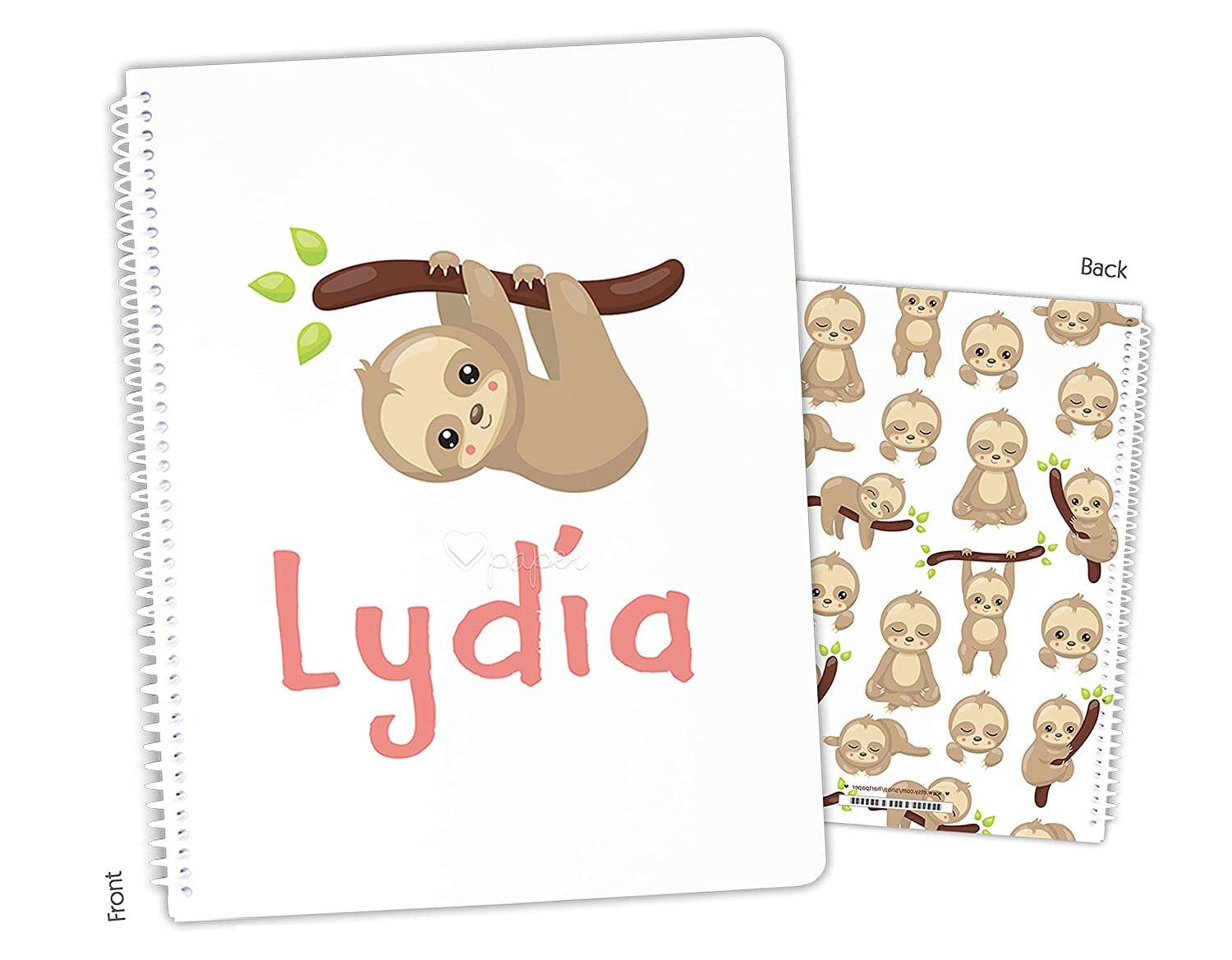 Personalized Sloth Spiral Notebook Ranking TOP4 Bound Max 73% OFF Sketchbook