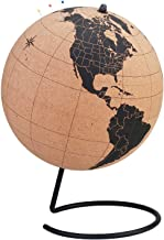 10 inch Cork Globe with 50 Color Push Pins – Rotatable World Globe Cork – Educational World Map - Durable Stainless Steel ...