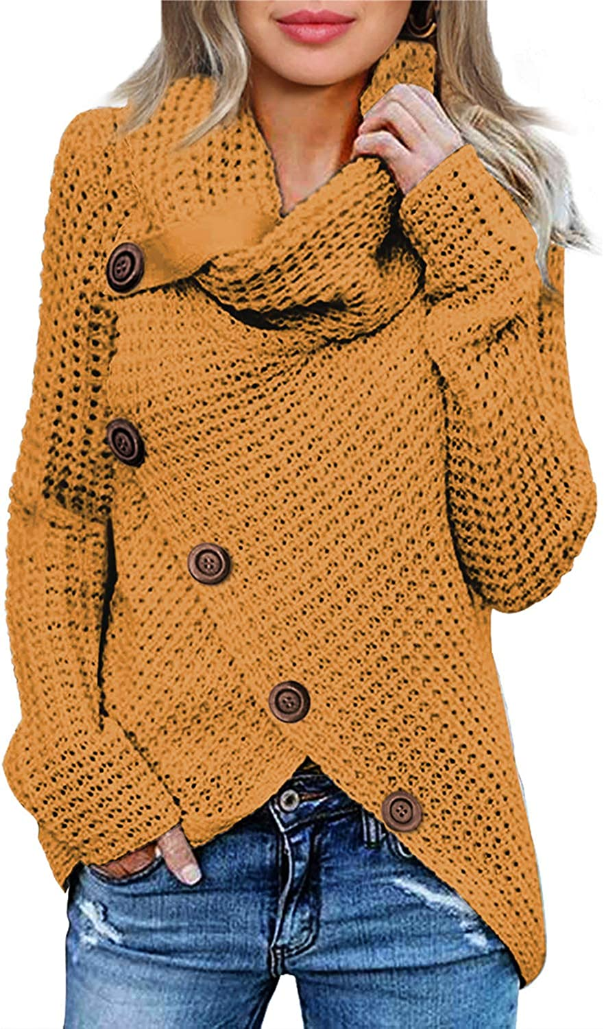 Actloe Womens Cowl Neck Long Sleeve Asymmetrical Hem Sweaters Front Wrap Pullover Jumper