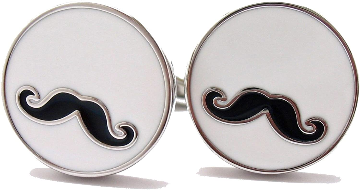 Men's Executive Round I Moustache You a Question Cufflinks Cuff Links