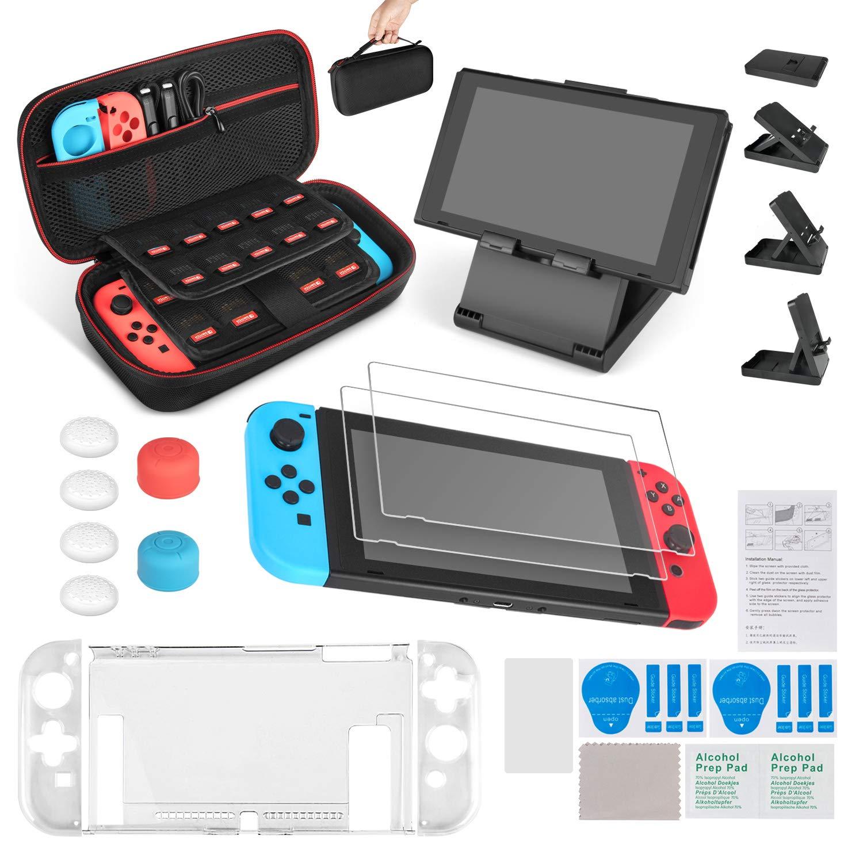 Keten kit de accesorios 13 en 1 para Nintendo Switch, incluye una funda de transporte para Nintendo Switch / Funda Transparente / Soporte regulable / Protector de pantalla HD (2 paquetes): Amazon.es: Electrónica