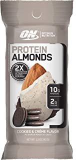 Optimum Nutrition Protein Almonds Snacks, On The Go Nutrition, Flavor: Cookies & Cream, Low Sugar, Made with Whey Protein ...