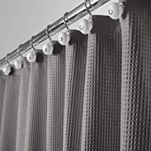 "mDesign Hotel Quality Polyester/Cotton Blend Machine Washable Fabric Shower Curtain with Waffle Weave and Rust-Resistant Metal Grommets for Bathroom Showers and Bathtubs - 72"" x 72"" - Gray"