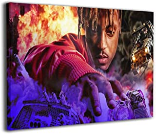 """Paulino Juice Wrld Wall Art for Living Room Bedroom Canvas Wall Art Decor Framed Canvas Artworks Prints Giclee Ready to Hang for Home Decoration 8""""x12"""""""