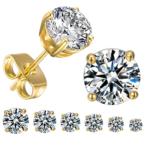 GEMSME 18K White Gold Plated Round Cubic Zirconia Stud Earrings Hypoallergenic Jewelry for Women Men