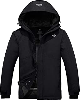 Wantdo Men's Hooded Waterproof Fleece Ski Jacket Windproof Parka Winter Coat