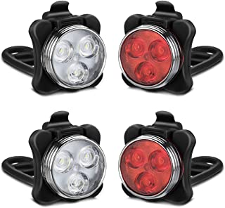 AKALE Rechargeable Bike Light Set, LED Bicycle Lights Front and Rear, 4 Light Mode Options, 650mah Lithium Battery, Bike Headlight, IPX4 Waterproof, Easy to Install for Kids Men Women Road 2 Pack