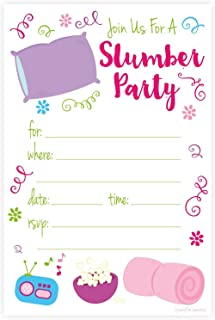 Slumber Party Sleep Over Invitations - Fill In Style (20 Count) With Envelopes by m&h invites