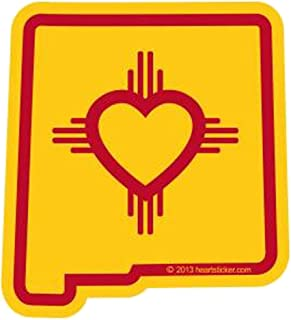Heart in New Mexico Sticker | NM State Shaped Label | Apply to Mug Phone Laptop Water Bottle Decal Cooler Bumper | State Flag Enchantment Taos ABQ Albuquerque Breaking Bad Area 51 Roswell Turquoise