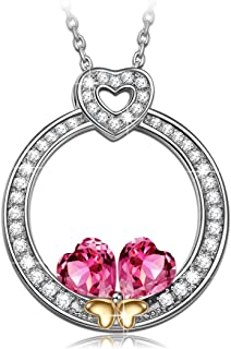 NINASUN Women Christmas Necklace Gifts Heart to Heart Women Necklace 925 Sterling Silver Pendant Necklace Fine Jewelry Crystals from Swarovski Hypoallergenic Material with Gift Box