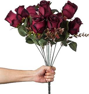 VILIVIT 21in.H Artificial Rose Silk Flowers - 11 Heads Leaf Rose Floral for Home Wedding Décor – Faux Black Red Rose Bouquet