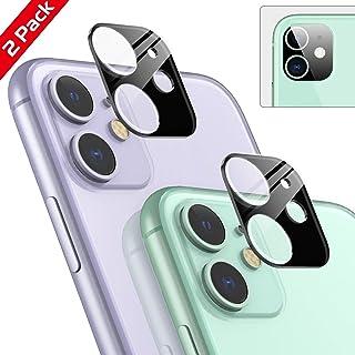 Ossky Protector de Lente de cámara para iPhone 11Cámara Trasera Protector de Pantalla/Anti-Rasguños/Anti-Polvo/9H Dureza Cristal Vidrio Templado para iPhone 11-Negro/2 Pack