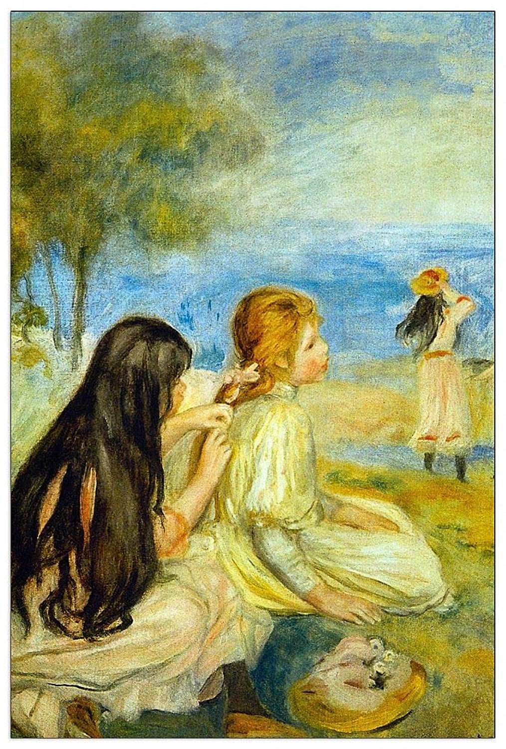 ArtPlaza TW92739 Renoir Pierre-Auguste - Girls by The Seaside Decorative Panel 27.5x39.5 Inch Multicolored