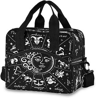 Baofu Lunch Bag Insulated Waterproof Reusable Tote Bag Durable Portable Zipper Large Lunchbox Handbag with Strap for Kids Women Men (Sun Moon)