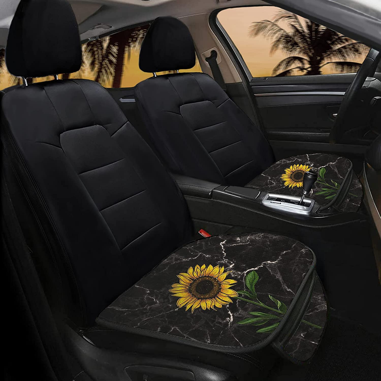Yiekeluo Marble Sunflower Flower Pattern Car Seat Covers Full Set 2 Packs Auto Front Seat Bottom Protector Pad for Most Vehicles