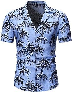 IHGTZS Shirts for Men, Fashion Men's Casual Button Hawaii Print Beach Short Sleeve Quick Dry Top Blouse