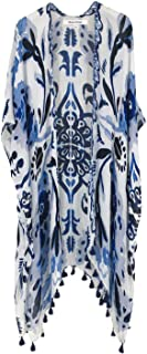 Women's Beach Cover up Swimsuit Kimono Cardigan with Bohemian Floral Print