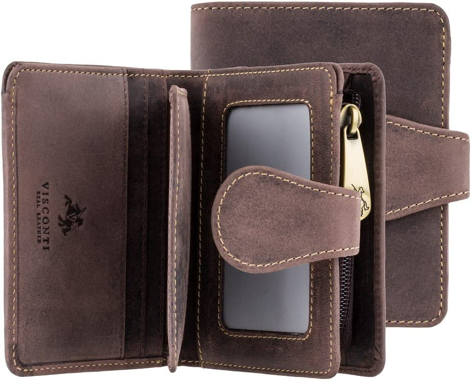 Visconti Hunter 715 Mens Bifold Wallet with Zippered Coin Purse in Oil Leather (Brown)