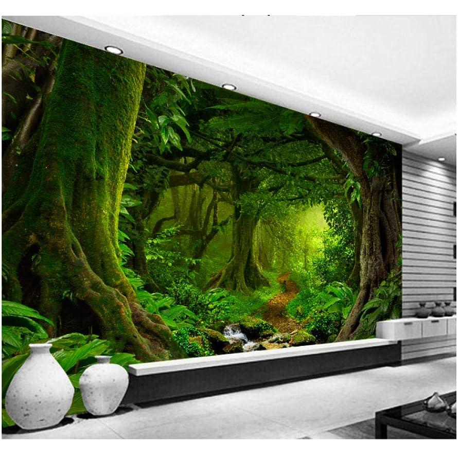 法律によりかみそり海里Wkxzz 壁画 壁紙3D熱帯林滝木ジャングル自然現代の森林小道ウォールステッカーリビングルームの寝室の壁画-200X140Cm