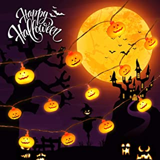 Delxo Halloween Decorations String Lights, 20 LED Pumpkin String Lights 9.8 Feet for Halloween Party Outdoor & Indoor, Battery Powered 2 Modes Steady/Flickering Lights Waterproof Decorate Pumpkin