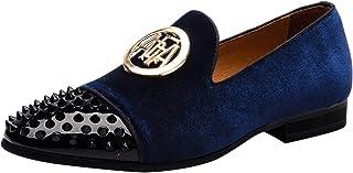 Mocassin Homme Noble Velours Boucle Dorée Slip on Cuir Verni Rivets Loafers Conduite Mariage Chaussures Pantoufles Chausso...