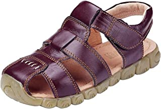 DADAWEN Boy's Girl's Leather Closed Toe Outdoor Sport Sandals (Toddler/Little Kid/Big Kid)