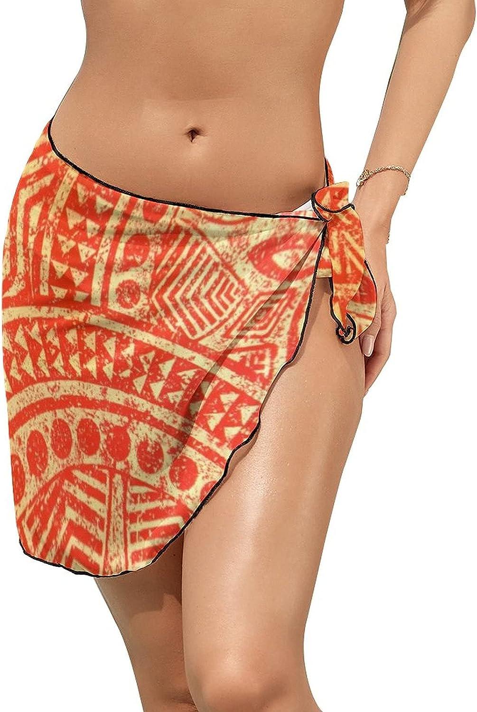 Swimsuit Cover Ups Abstract Pop Art Pattern Customed Bathing Suit Beach Sarong Bikini Short Skirt Wrap for Women