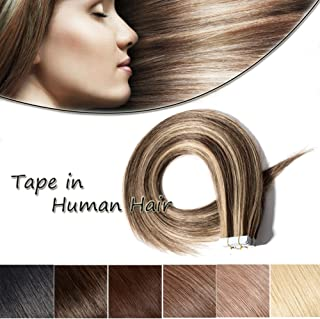 Rooted Remy Tape in Hair Extensions Ombre Tape on Human Hair Medium Brown mixed Dark Blonde Straight Balayage Skin Weft Hair Extensions (18'',50g/20Pcs,#4&27)